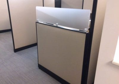 Panel with frosted glass; Haworth refurbished workstations