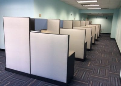 Two-tier workstations with contrast overstores; Haworth refurbished