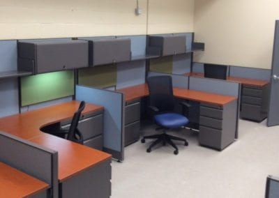 Open Plan Systems call centers with storage, tackboards and pedestal files