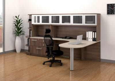 Private-office-desk-with-storage-&-peninsula-by-LogiFlex
